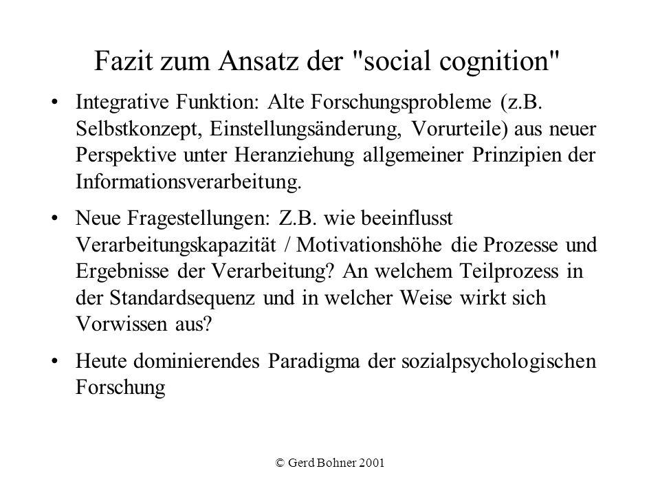 Fazit zum Ansatz der social cognition
