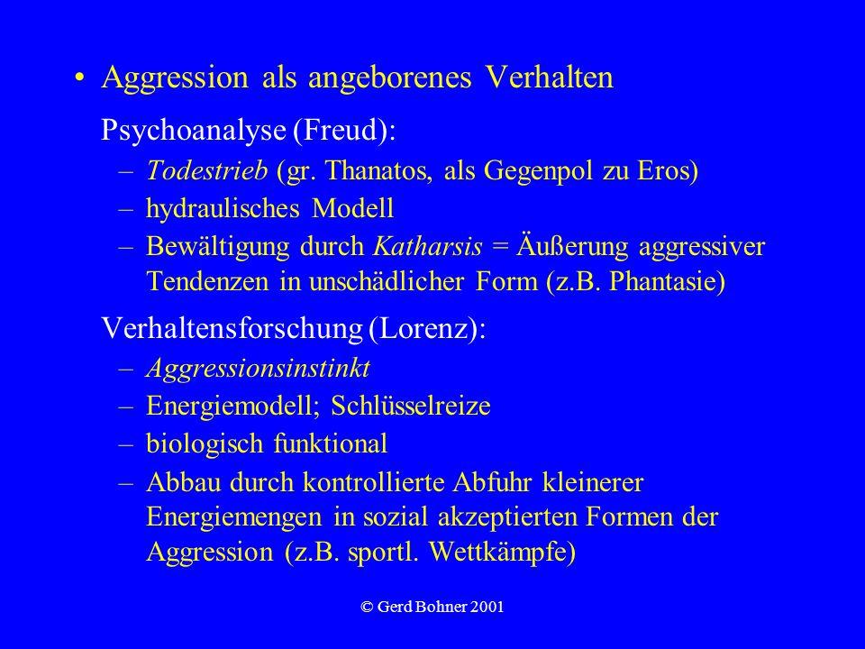 Aggression als angeborenes Verhalten Psychoanalyse (Freud):