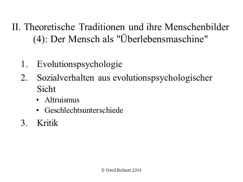 II. Theoretische Traditionen und ihre Menschenbilder (4): Der Mensch als Überlebensmaschine