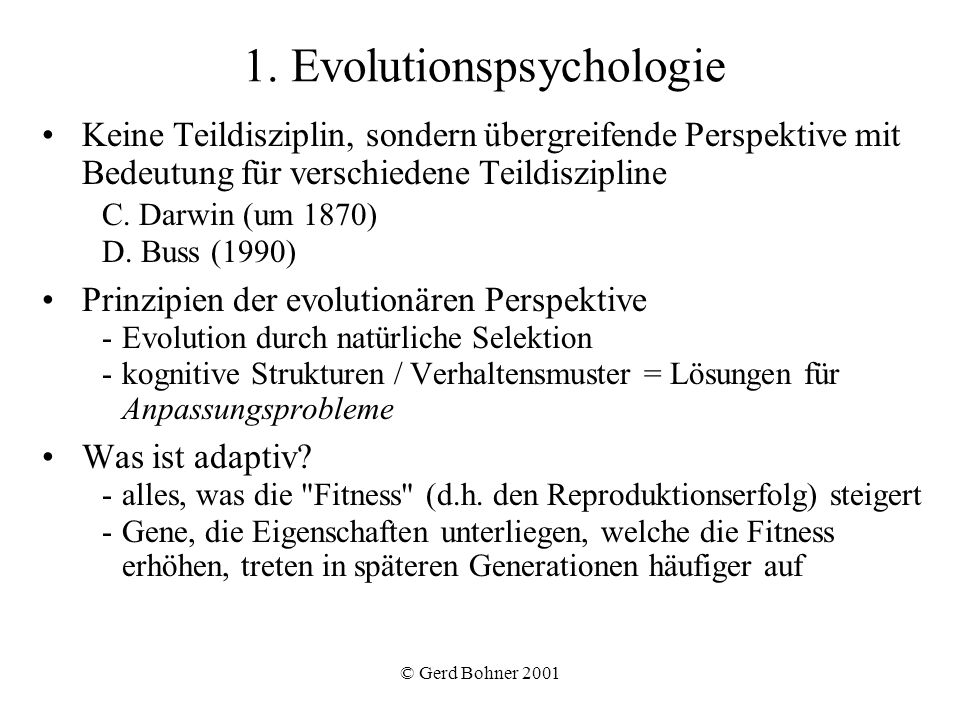 1. Evolutionspsychologie
