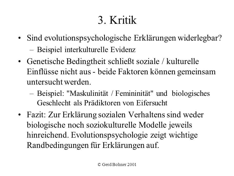 3. Kritik Sind evolutionspsychologische Erklärungen widerlegbar