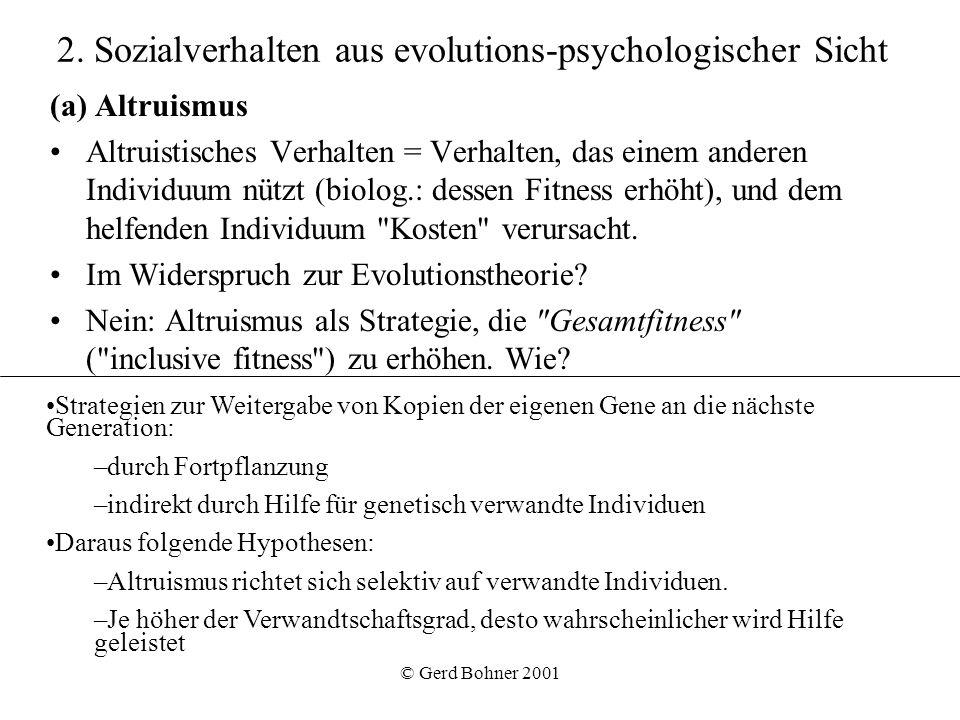 2. Sozialverhalten aus evolutions-psychologischer Sicht
