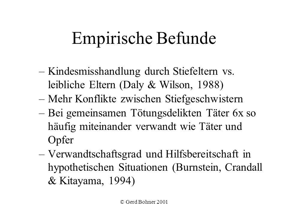 Empirische Befunde Kindesmisshandlung durch Stiefeltern vs. leibliche Eltern (Daly & Wilson, 1988) Mehr Konflikte zwischen Stiefgeschwistern.