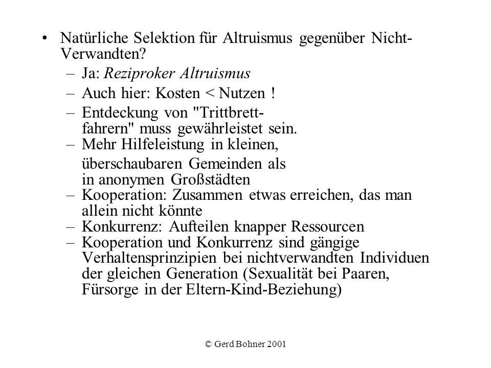 Natürliche Selektion für Altruismus gegenüber Nicht-Verwandten