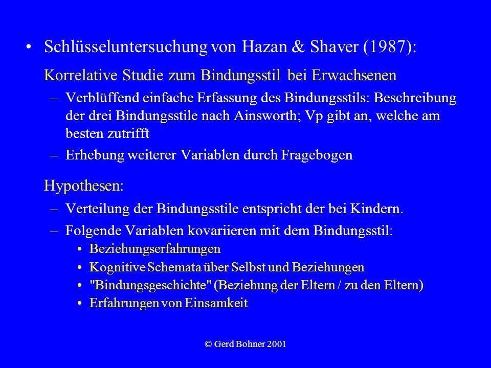 Hypothesen: Schlüsseluntersuchung von Hazan & Shaver (1987):