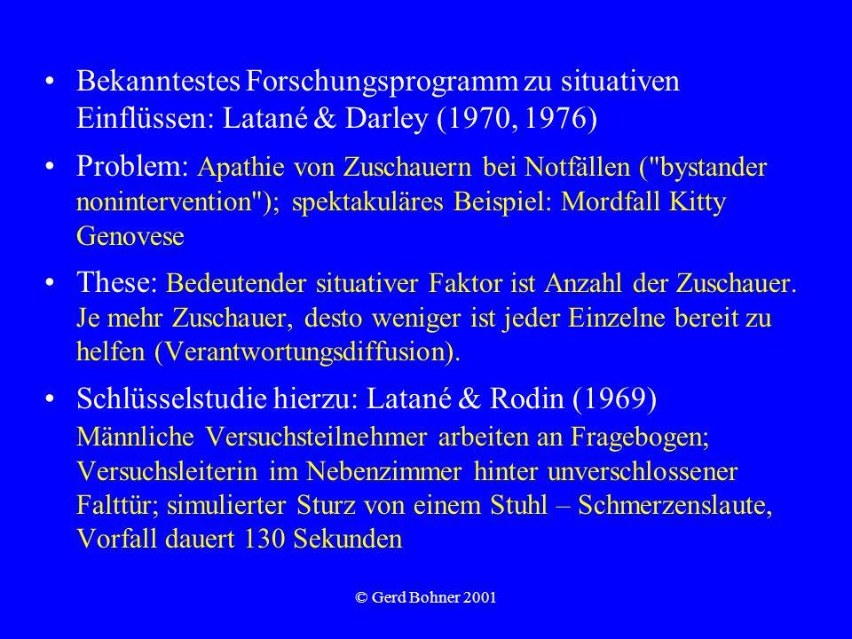 Schlüsselstudie hierzu: Latané & Rodin (1969)