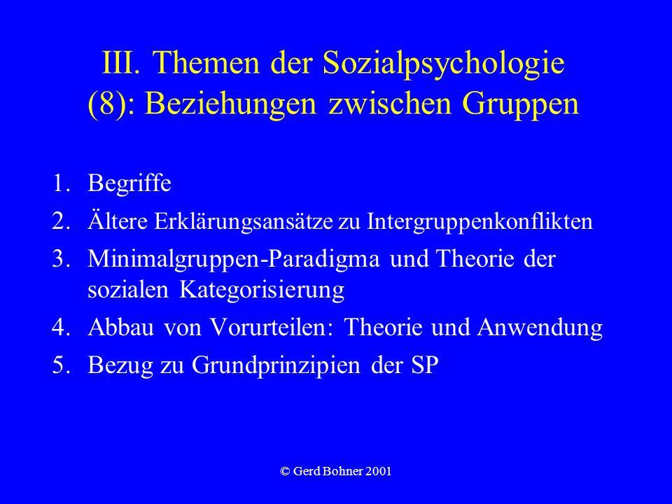 III. Themen der Sozialpsychologie (8): Beziehungen zwischen Gruppen
