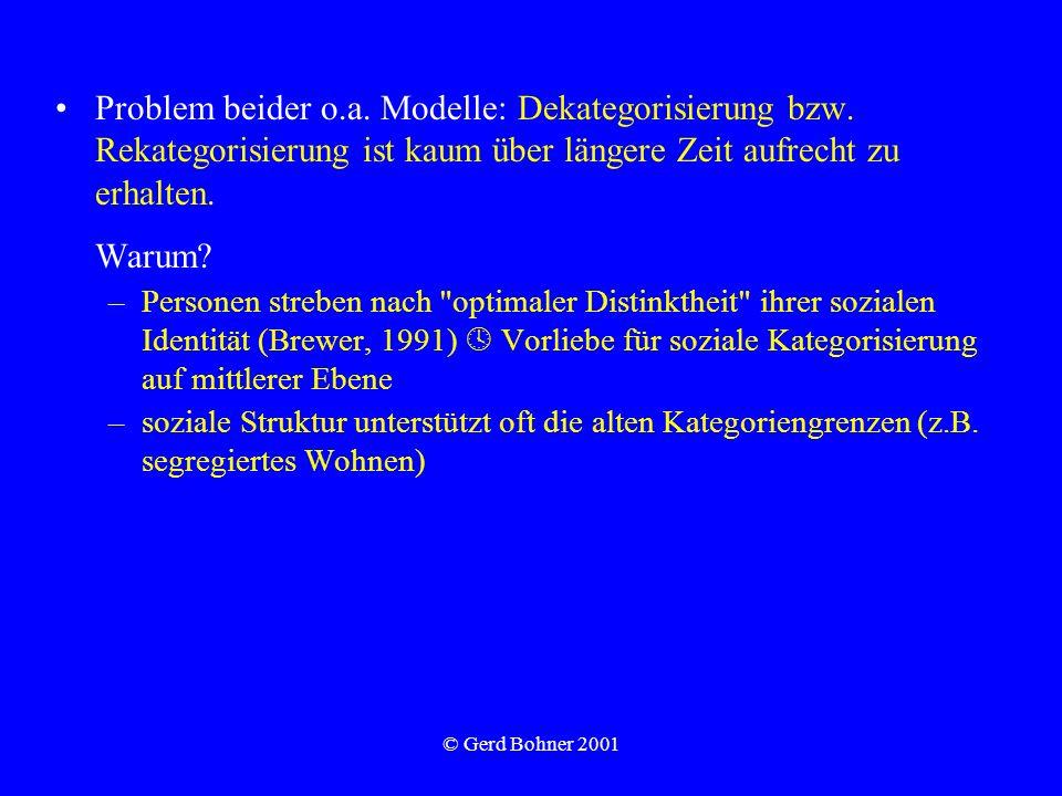 Problem beider o. a. Modelle: Dekategorisierung bzw