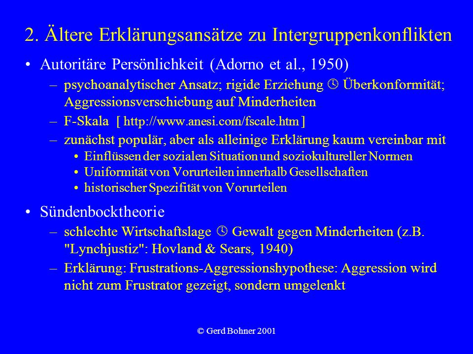 2. Ältere Erklärungsansätze zu Intergruppenkonflikten