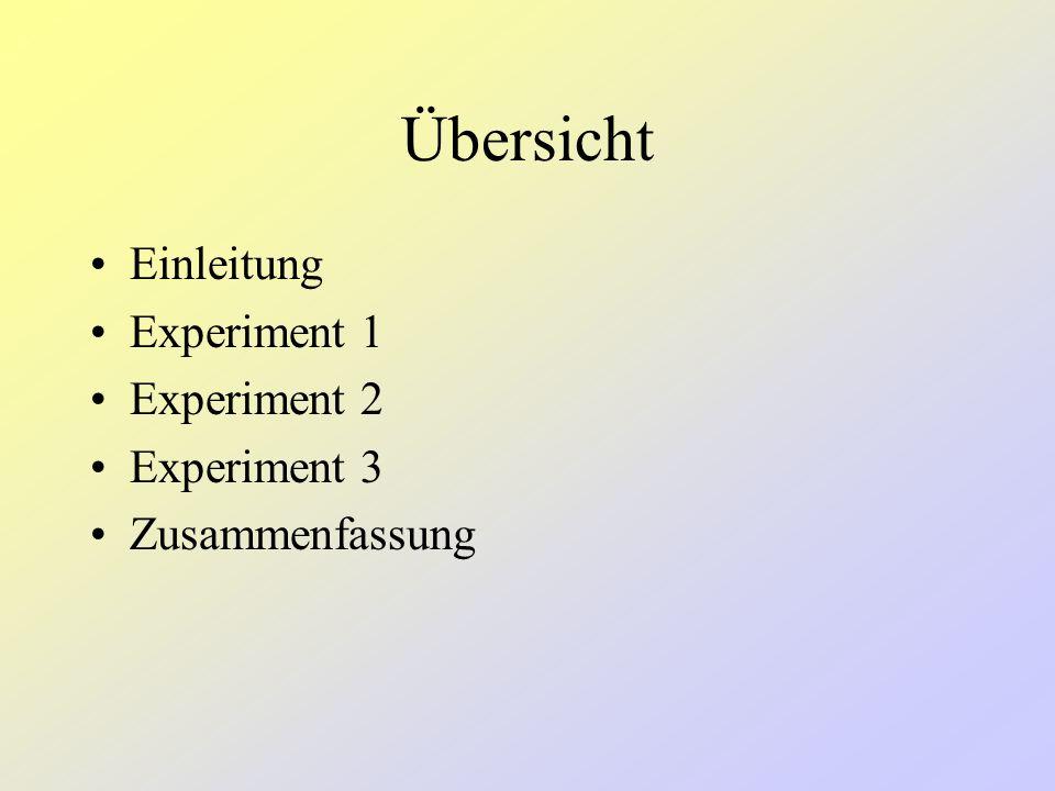 Übersicht Einleitung Experiment 1 Experiment 2 Experiment 3