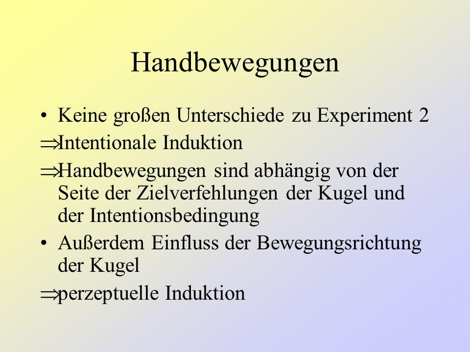 Handbewegungen Keine großen Unterschiede zu Experiment 2
