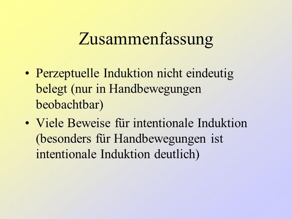 Zusammenfassung Perzeptuelle Induktion nicht eindeutig belegt (nur in Handbewegungen beobachtbar)