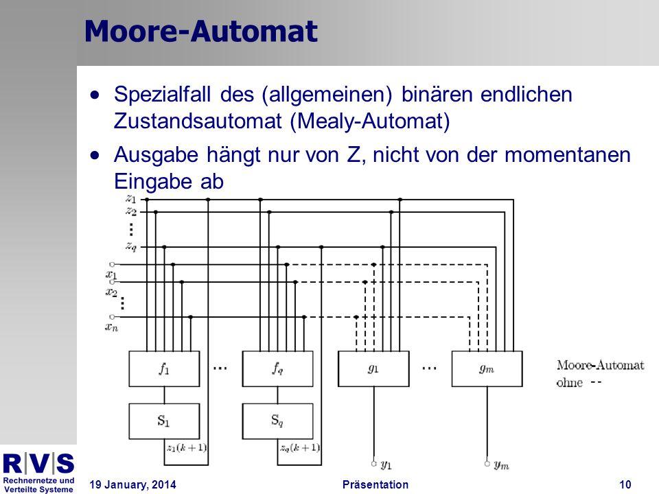 Moore-Automat Spezialfall des (allgemeinen) binären endlichen Zustandsautomat (Mealy-Automat)