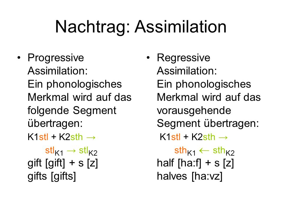Nachtrag: Assimilation