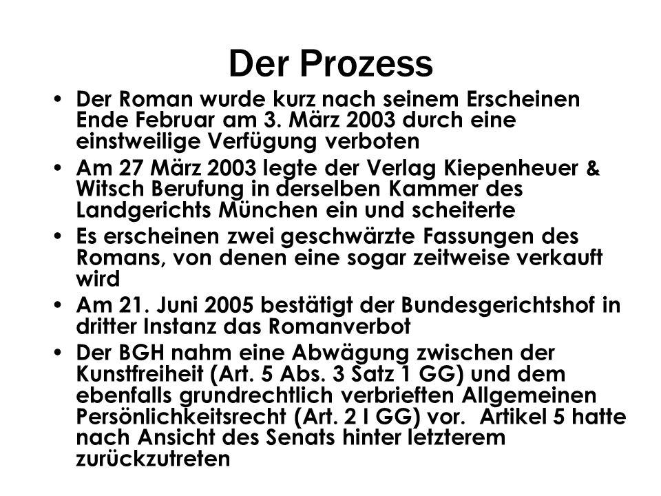 Der Prozess Der Roman wurde kurz nach seinem Erscheinen Ende Februar am 3. März 2003 durch eine einstweilige Verfügung verboten.