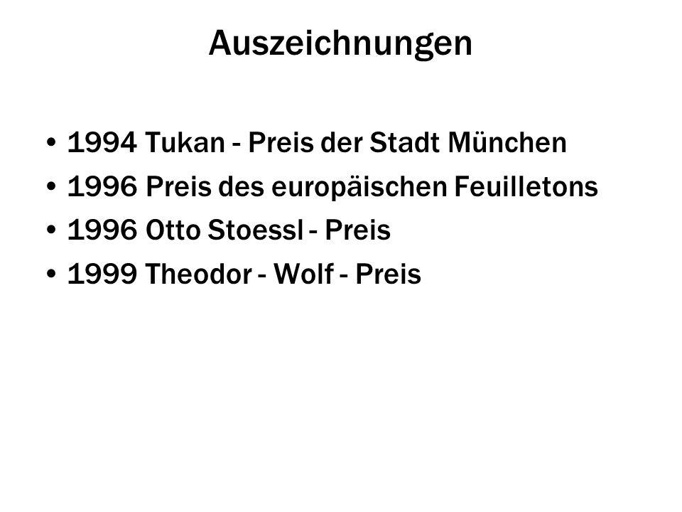 Auszeichnungen 1994 Tukan - Preis der Stadt München