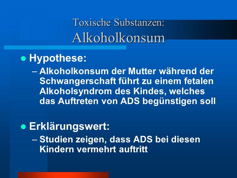 Toxische Substanzen: Alkoholkonsum
