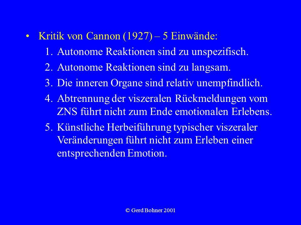 Kritik von Cannon (1927) – 5 Einwände: