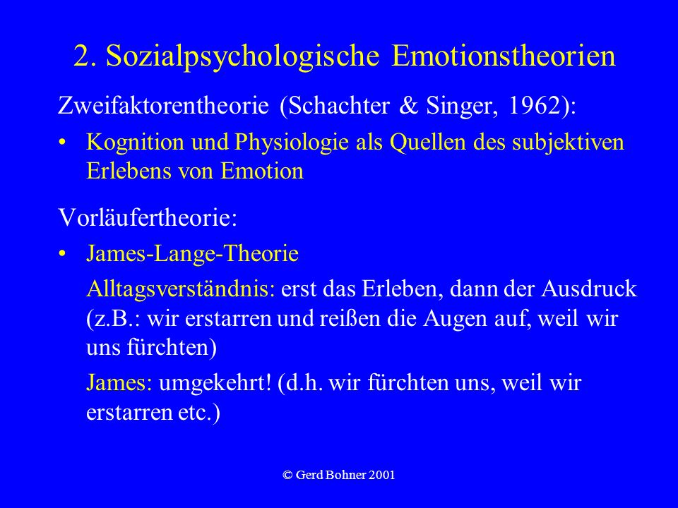 2. Sozialpsychologische Emotionstheorien