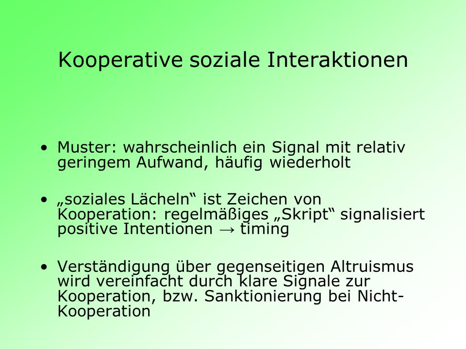 Kooperative soziale Interaktionen