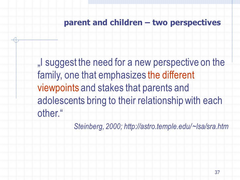 parent and children – two perspectives