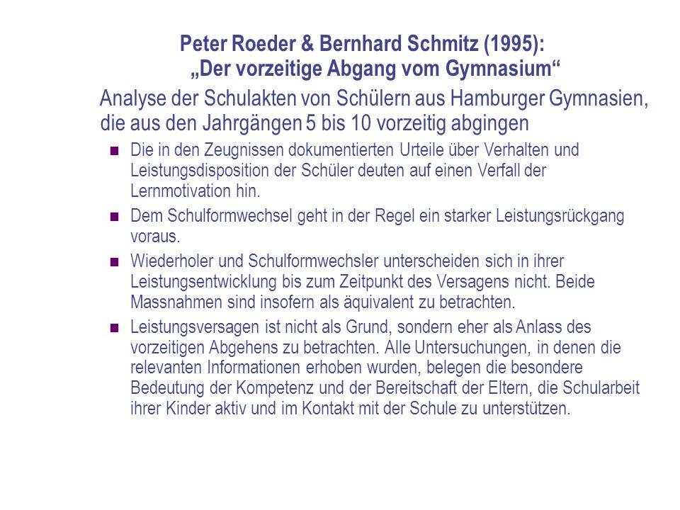 """Peter Roeder & Bernhard Schmitz (1995): """"Der vorzeitige Abgang vom Gymnasium"""