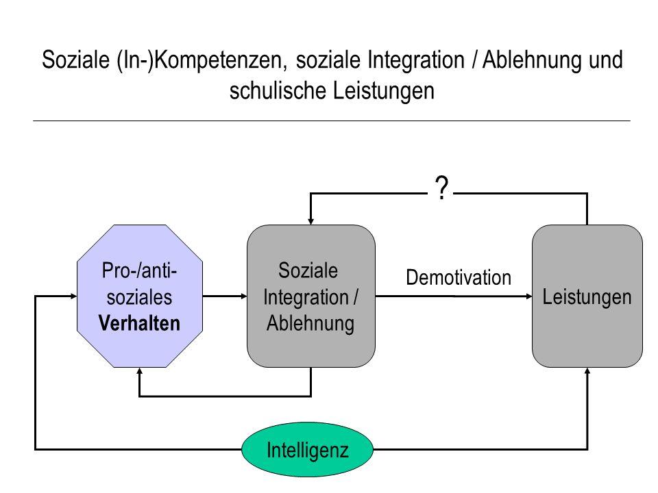 Soziale (In-)Kompetenzen, soziale Integration / Ablehnung und schulische Leistungen