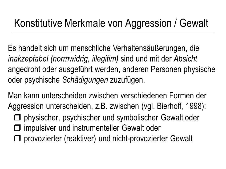 Konstitutive Merkmale von Aggression / Gewalt