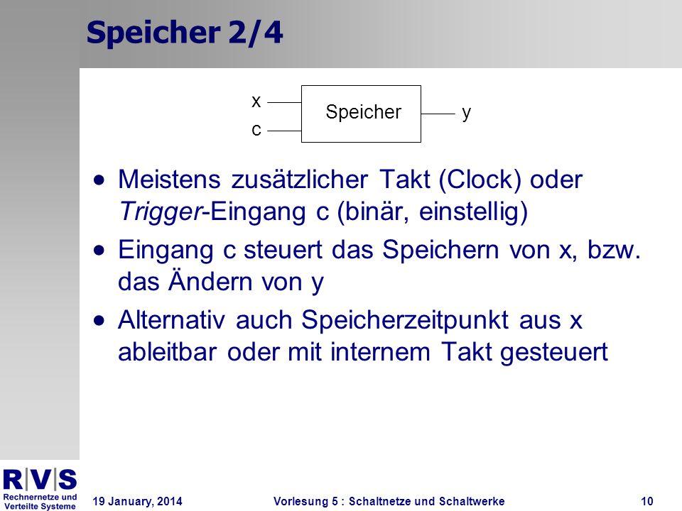 Speicher 2/4 x. Speicher. y. c. Meistens zusätzlicher Takt (Clock) oder Trigger-Eingang c (binär, einstellig)