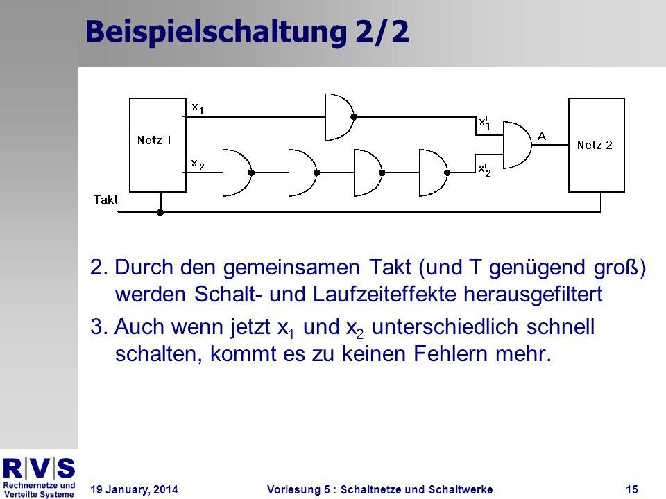 Beispielschaltung 2/2 2. Durch den gemeinsamen Takt (und T genügend groß) werden Schalt- und Laufzeiteffekte herausgefiltert.