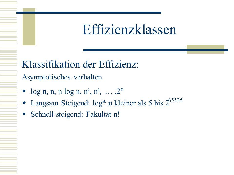 Effizienzklassen Klassifikation der Effizienz: