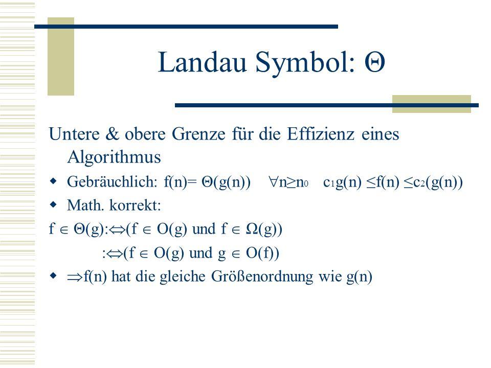 Landau Symbol: Θ Untere & obere Grenze für die Effizienz eines Algorithmus. Gebräuchlich: f(n)= Θ(g(n)) n≥n0 c1g(n) ≤f(n) ≤c2(g(n))