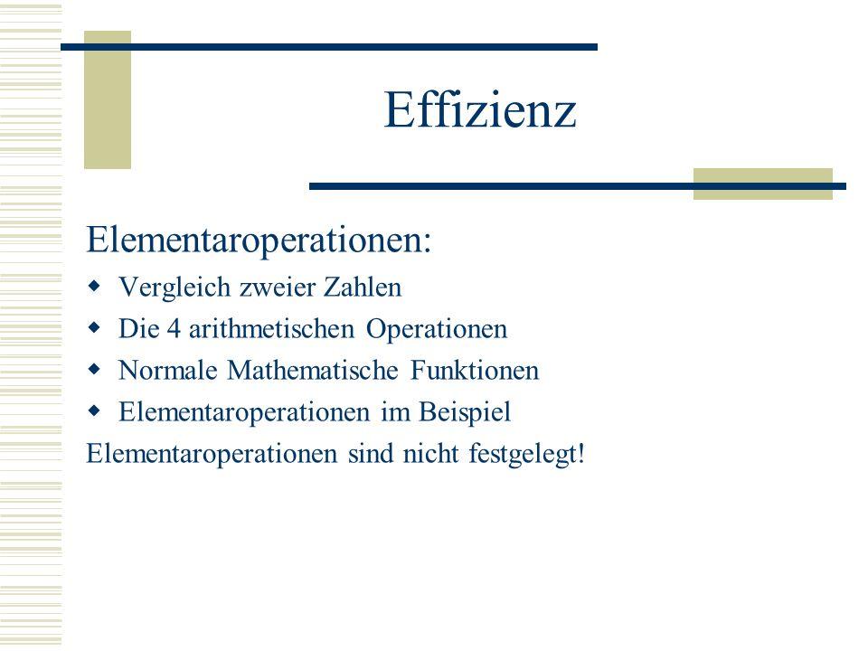 Effizienz Elementaroperationen: Vergleich zweier Zahlen