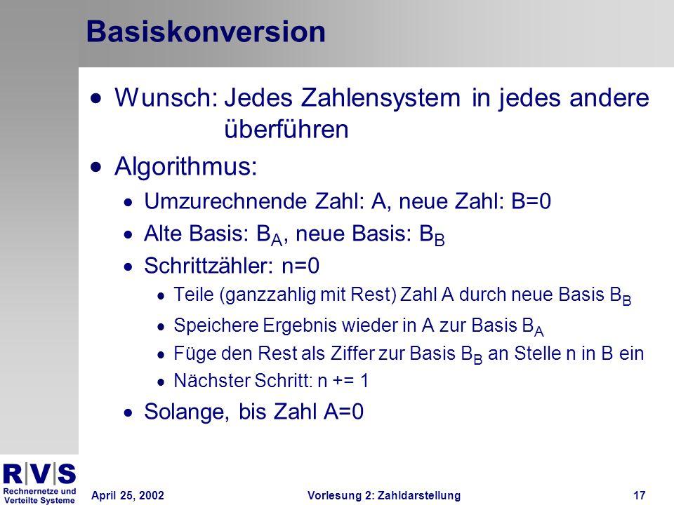 Basiskonversion Wunsch: Jedes Zahlensystem in jedes andere überführen