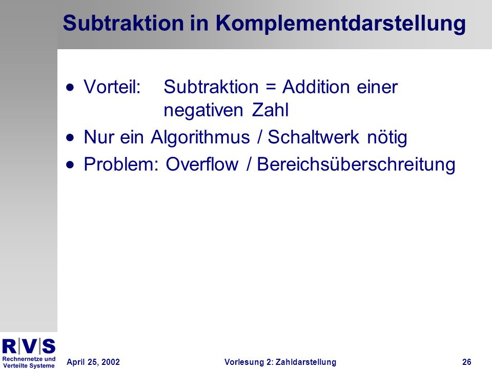Subtraktion in Komplementdarstellung