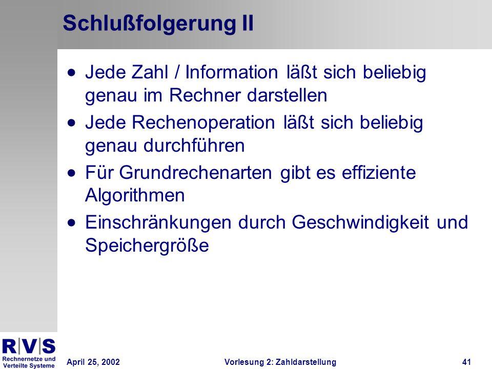 Schlußfolgerung II Jede Zahl / Information läßt sich beliebig genau im Rechner darstellen.