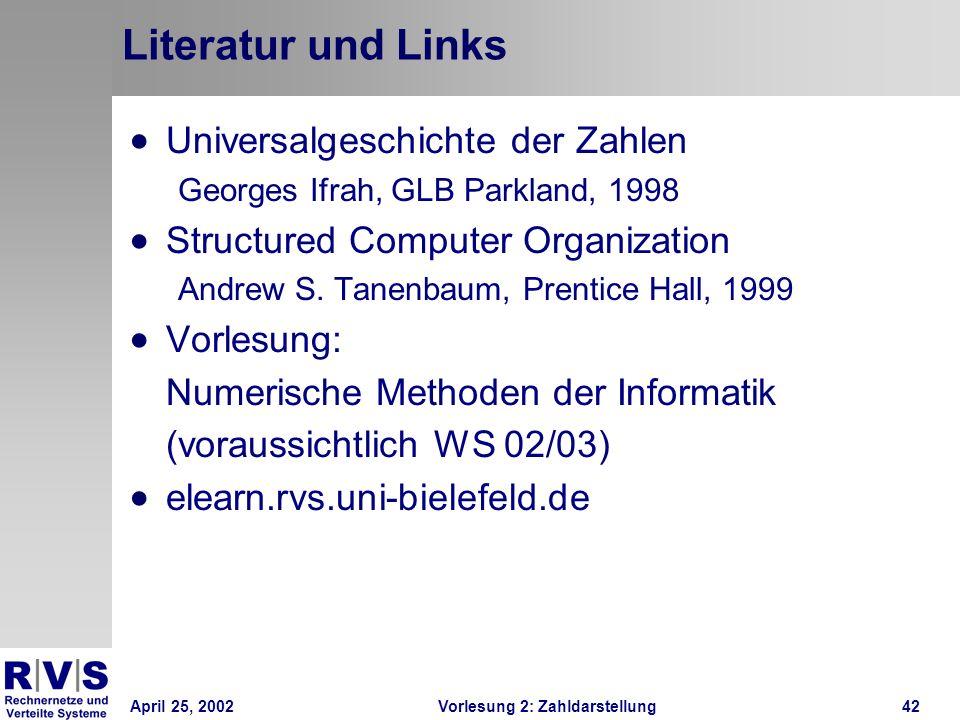 Literatur und Links Universalgeschichte der Zahlen