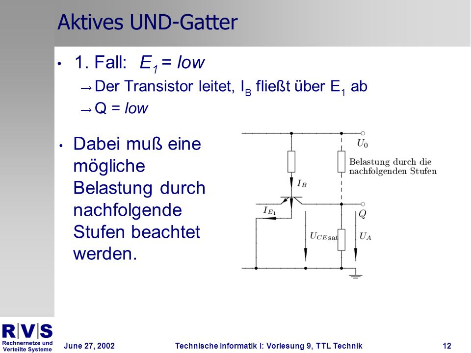 Aktives UND-Gatter 1. Fall: E1 = low