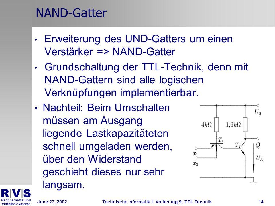 NAND-Gatter Erweiterung des UND-Gatters um einen Verstärker => NAND-Gatter.