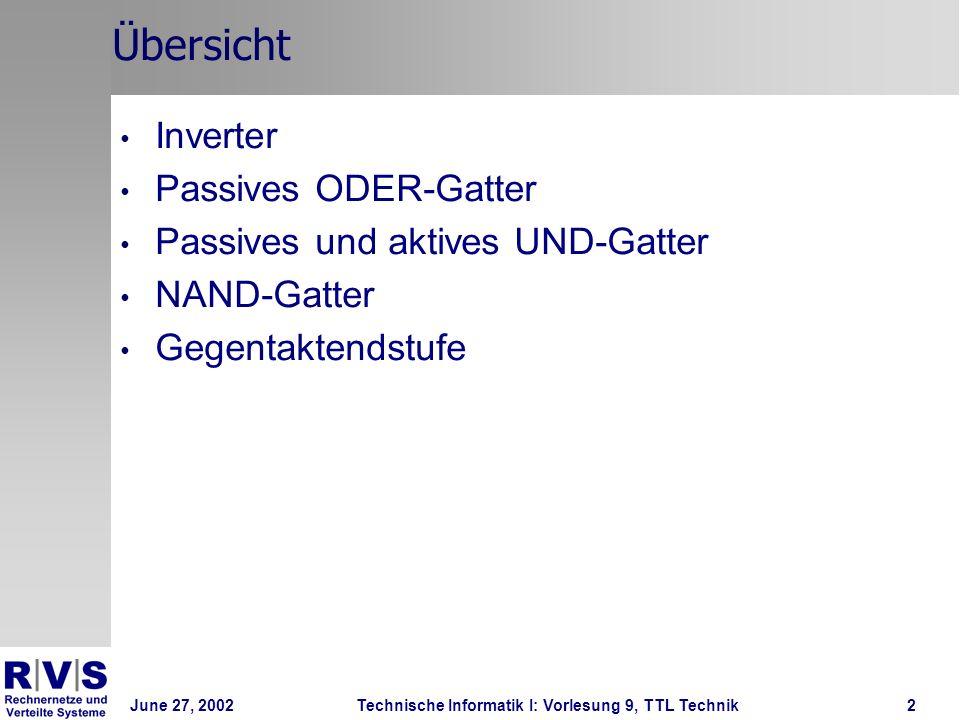 Übersicht Inverter Passives ODER-Gatter