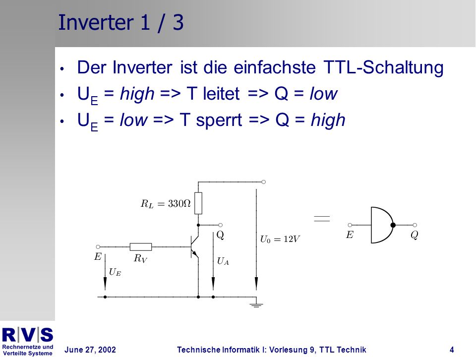 Inverter 1 / 3 Der Inverter ist die einfachste TTL-Schaltung