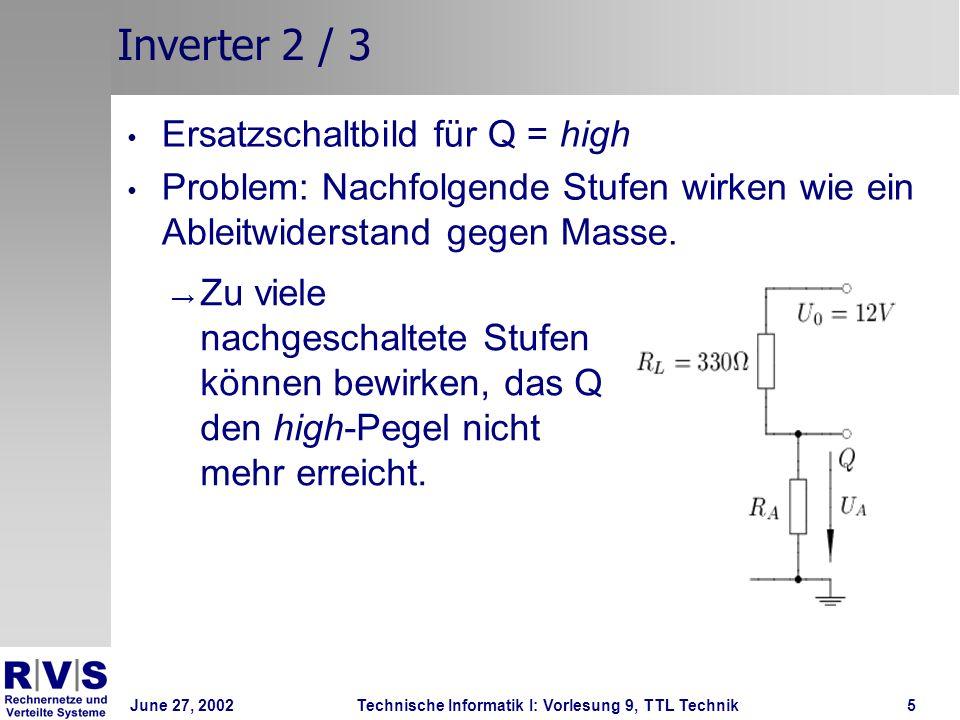 Inverter 2 / 3 Ersatzschaltbild für Q = high