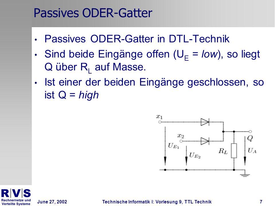 Passives ODER-Gatter Passives ODER-Gatter in DTL-Technik