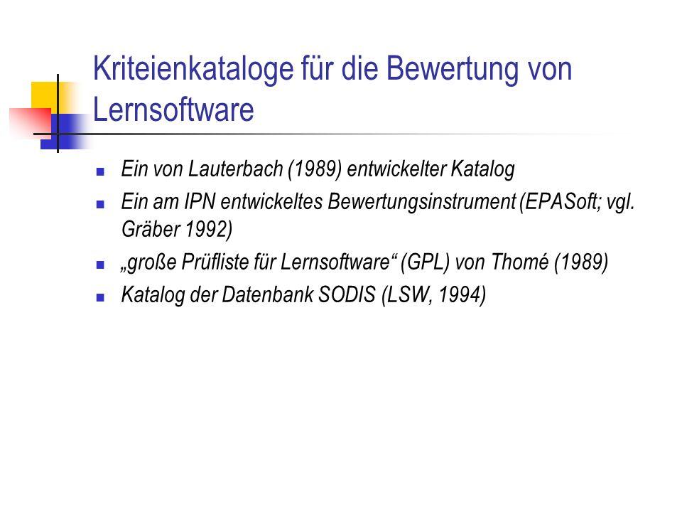 Kriteienkataloge für die Bewertung von Lernsoftware