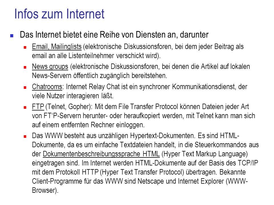Infos zum InternetDas Internet bietet eine Reihe von Diensten an, darunter.