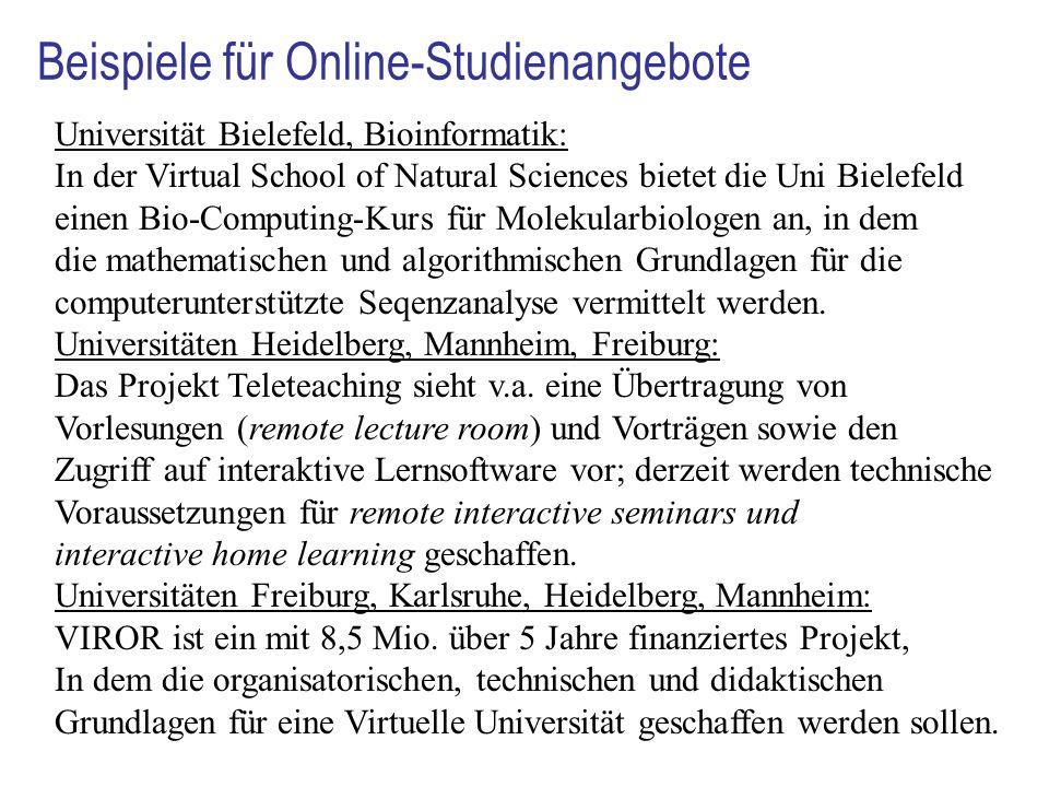 Beispiele für Online-Studienangebote