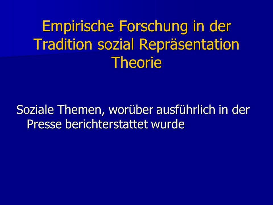 Empirische Forschung in der Tradition sozial Repräsentation Theorie