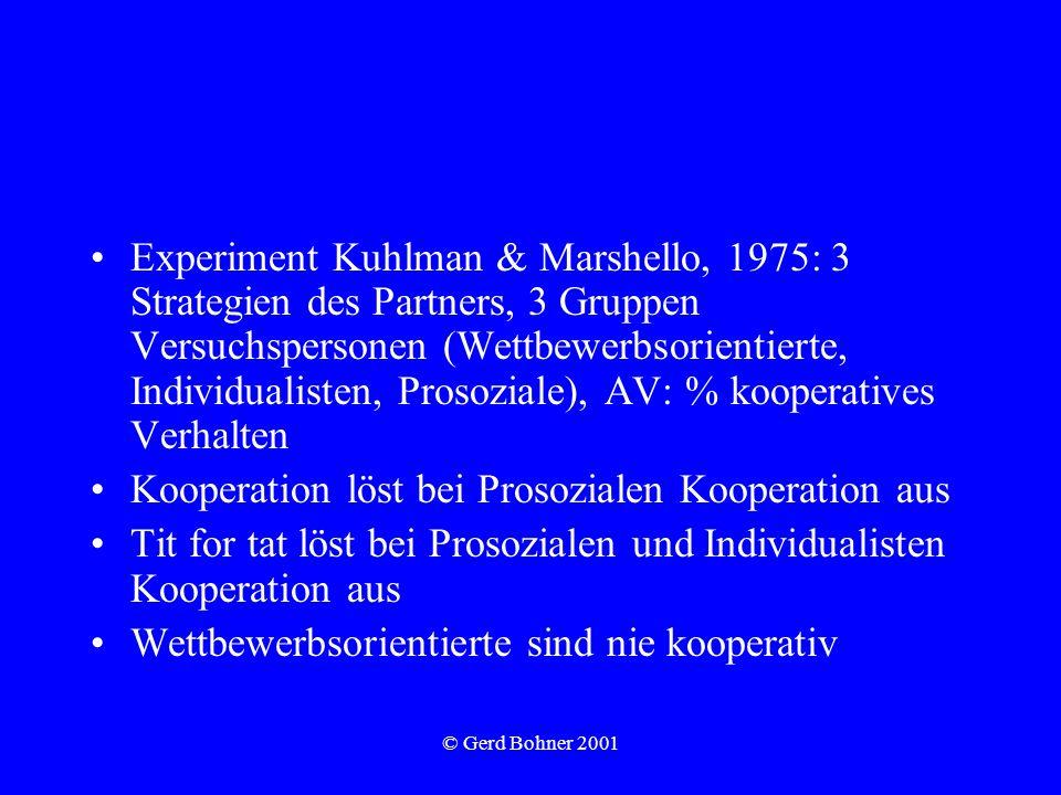 Kooperation löst bei Prosozialen Kooperation aus