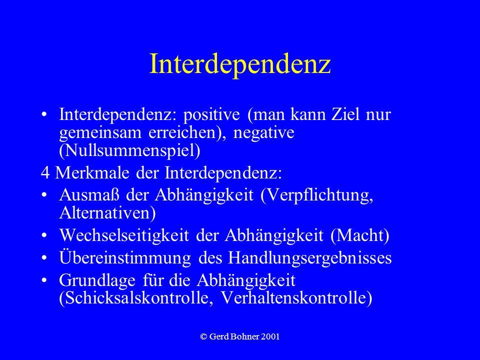Interdependenz Interdependenz: positive (man kann Ziel nur gemeinsam erreichen), negative (Nullsummenspiel)