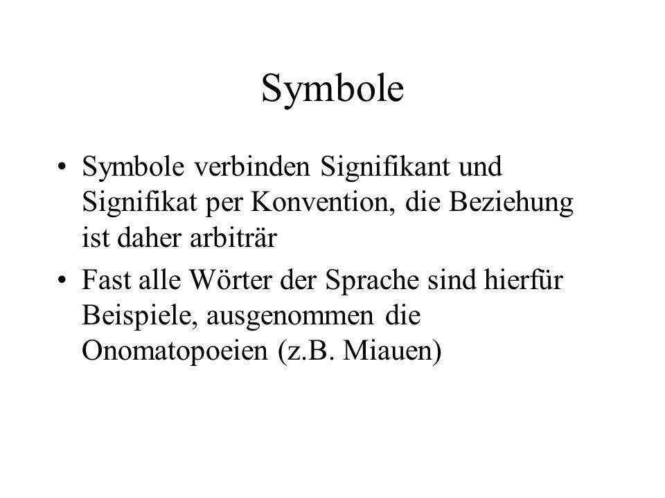 Symbole Symbole verbinden Signifikant und Signifikat per Konvention, die Beziehung ist daher arbiträr.